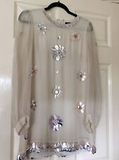 FRENCH CONNECTION CHAMPAGNE IVORY SILK BEADED SHIFT DRESS SIZE 10