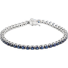 "Genuine Blue Sapphire Tennis 7"" Bracelet In Platinum"