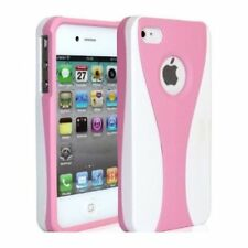 Light Pink / White Cup-shape Snap-on Rubber Coated Case for Apple iPhone 4/4S