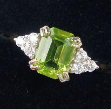 9ct Gold Emerald Cut Peridot Ring, Size N