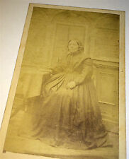 Antique Victorian Old Woman Seated Portrait Dark Clothing G.A. Green CDV Photo!