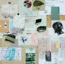 SJART abstract modern collage mixed media painting gay