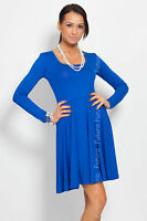Classic Sensible Skater Women's Dress Long Sleeve Scoop Neck Size 8-18 8444