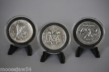 Three  2010 Olympic 1 Oz Pure Silver Coins - Vancouver Olympics  - With  Stands