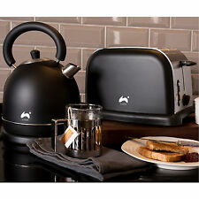 Ovation Black/Silver Large Fast Boil Dome Kettle + Wide Slot 2-Slice Toaster Set
