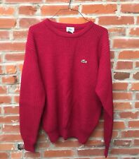 Vintage Lacoste Sweater Red Wool Pullover Crewneck Mens (1645)