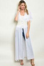 Misses White Kimono Cardigan Duster Size Medium Large New Lace Accent