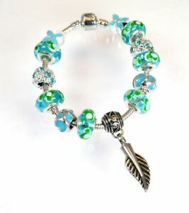 Aqua Marine and Green Bead Charm Bracelet with Feather Ashes Charm