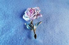 Park Lane (Signed) Porcelain Flower Pin Brooch - Vintage Costume Jewellery