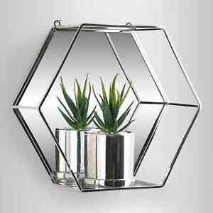 Luxury Hexagon Silver Mirror Shelf Metal Wire Wall Shelf Home Decor Storage