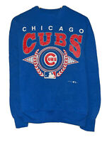 Chicago Cubs Vtg 1993 MLB Women's Size Large Blue Hanes Tag Pullover Sweatshirt