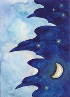 ACEO CROW RAVEN RYTA PRINT OF PAINTING MOON ILLUSTRATION ART Halloween magic art