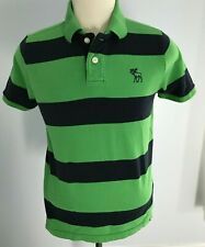 Abercrombie & Fitch - Navy / Green Men's Striped Polo - Size: XL w/ Moose Logo