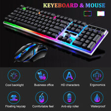 Gaming Keyboard And  Mouse Set Rainbow RGB LED Backlit Wired USB For PC Laptop