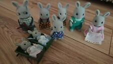 Sylvanian Families Grey Babblebrook Rabbits. Original  1985. Set of 8 rabbits
