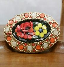 Vintage Micro Mosaic Flower Italian Gold Tone Brooch Pin Orange, Yellow, Red
