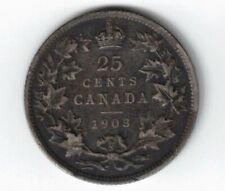 CANADA 1903 TWENTY FIVE CENTS QUARTER KING EDWARD VII STERLING SILVER COIN