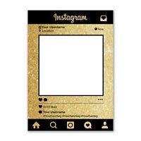 Personalised Selfie Frame Custom Instagram Social Media Photo Board Gold Glitter