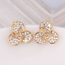 Wholesale 18k Yellow Gold Filled Clear Cubic Zirconia Clover Stud Earrings