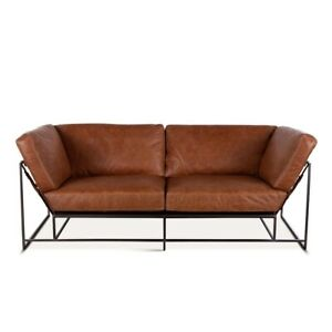 "80.75"" L Sofa/Loveseat Brown Top Grain Leather Modern Black Metal Frame"