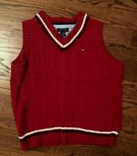 TOMMY HILFIGER BOYS SIZE 6 DARK RED CABLE KNIT SWEATER VEST