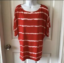 Michael Stars Red Blouse White Stripes 3/4 Sleeves One Size Fits Most