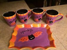 4 Halloween Spooky cups and Spooky tray