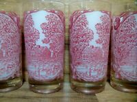SET OF 4 - ROYAL IRONSTONE CHINA - MEMORY LANE - GLASS 12 OZ. TUMBLERS - NICE
