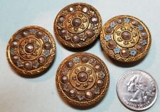 "4 BRASS BUTTONS WITH MARCASITE & ENAMEL FLOWERS - 1 1/4"" ACROSS"