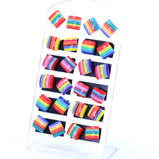 6 Pair  Rainbow Flag LGBT Pride Charm earring Resin Weave Plaited gay