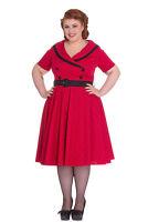 Hell Bunny 50's Mimi Polka Dot V-neck Swing Dress with Sleeves