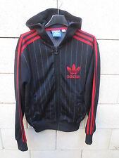 Veste à capuche ADIDAS rétro vintage noir rouge tracktop jacket 1982 S