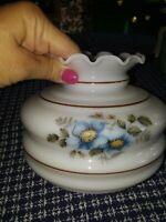 """6"""" Ruffled White Milk Glass Lamp Light Shade Replacement Globe Blue Flowers 5.75"""