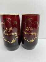Set Of Two Vtg Ruby Red Tumblers 40th Anniversary Gold Trim