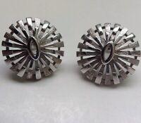 "Vintage Crown Trifari Sunburst Button Earrings Rhodium Plated 1"""