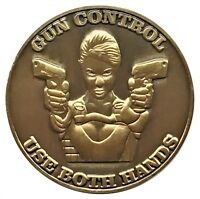 Gun Control Use Both Hands Heads Tails Good Luck Token Challenge Coin FAST SHIP