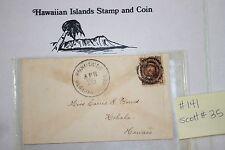c141 Hawaiian Stamp Cover Scott# 35, 1875