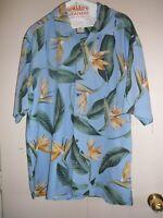 Men's Jamaica Jaxx Hawaiian Shirt L Short Sleeve Blue Floral 100% Silk Vintage