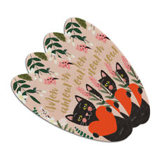 Mon Amour My Love French Cat Heart Oval Nail File Emery Board 4 Pack