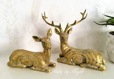 Stag & Doe Ornament Deer Set Reindeer Pair Antler Decorative Home Christmas Gift