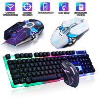 Computer Desktop Gaming Keyboard w/ Mouse Combo Ergonomic LED Light Backlit RGB