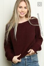 Brandy Melville burgundy cropped boatneck pullover Gwen Wool knit sweater NWT