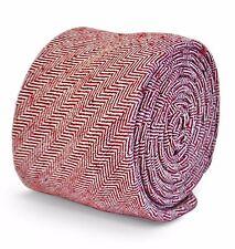 Frederick Thomas mens 100% wool tie in maroon/dark red herringbone FT3100