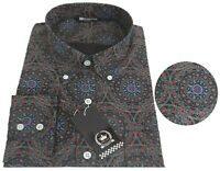 Relco Mens Black Floral Abstract Circles Paisley Long Sleeve Button Down Shirt