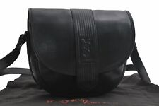 Authentic YVES SAINT LAURENT Shoulder Bag Leather Black A4709