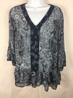 Joe Fresh Blouse M Medium Blue Sheer Top 3/4 Sleeve Ruffle Shirt (J4)