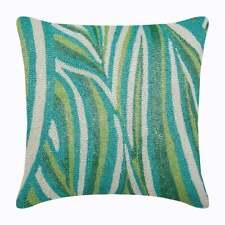Green Euro Pillow Sham 26x26 inch Designer Silk, Waves - Cool Maldives