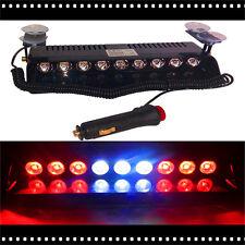 1Pc 9LED Strobe Light Bar Red/White Car Truck Dash Bright Flashing Warning Lamp