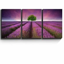 """3 Piece Canvas Print - Lavender field rows and a lone tree - 16""""x24""""x3 Panels"""