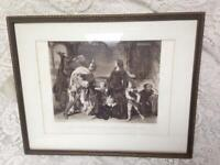 Antique 19th C Rare Etching-1266 Arrest of Queen Helene by Carolous of Anjou